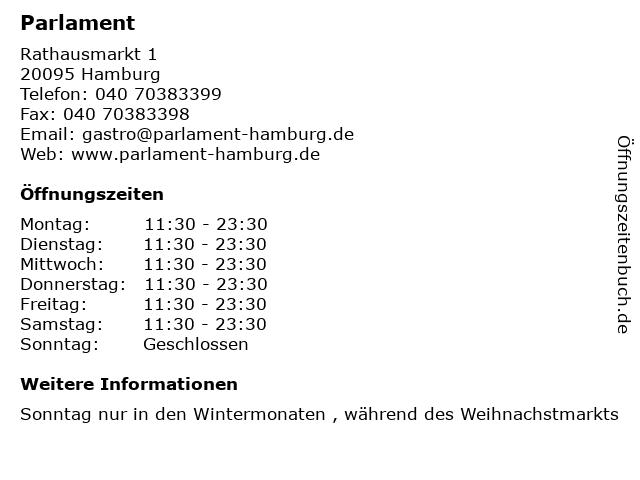 Parlament in Hamburg: Adresse und Öffnungszeiten