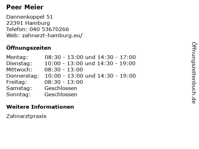 Peer Meier in Hamburg: Adresse und Öffnungszeiten