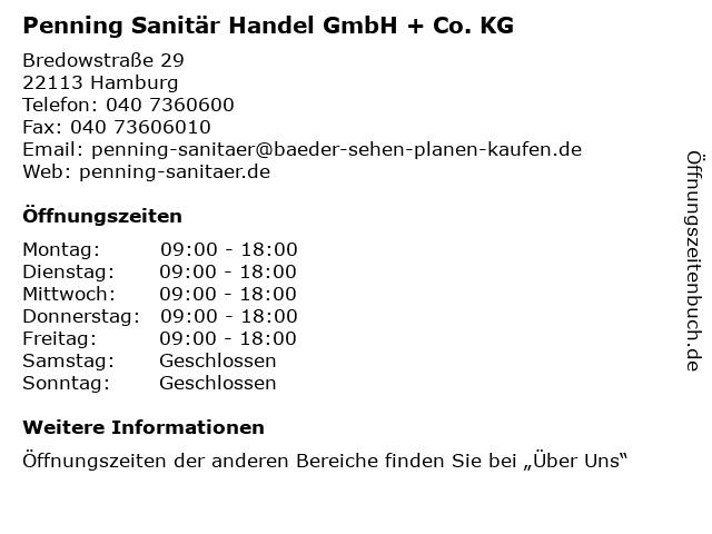 ᐅ Offnungszeiten Penning Sanitar Gmbh Co Kg Bredowstrasse 29