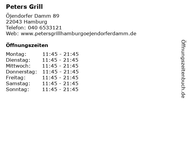 Peters Grill in Hamburg: Adresse und Öffnungszeiten