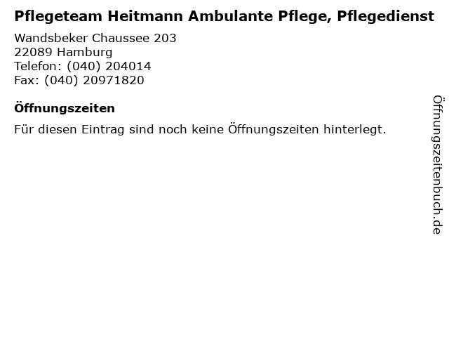 Pflegeteam Heitmann Ambulante Pflege, Pflegedienst in Hamburg: Adresse und Öffnungszeiten