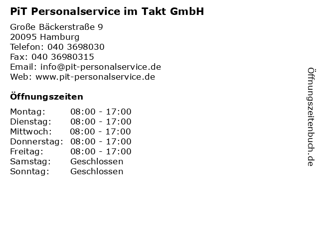 PiT Personalservice im Takt GmbH in Hamburg: Adresse und Öffnungszeiten