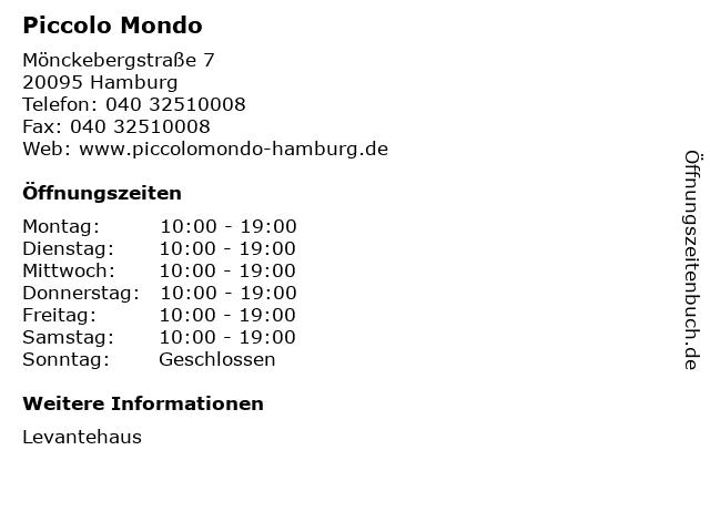 Piccolo Mondo in Hamburg: Adresse und Öffnungszeiten