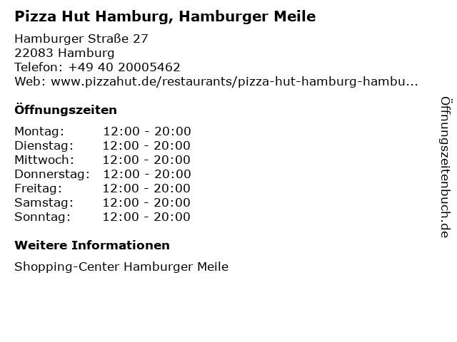 Pizza Hut Hamburg, Hamburger Meile in Hamburg: Adresse und Öffnungszeiten