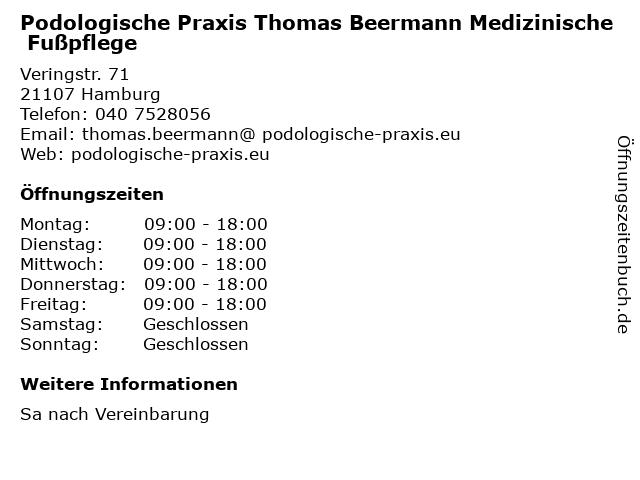 Podologische Praxis Thomas Beermann Medizinische Fußpflege in Hamburg: Adresse und Öffnungszeiten