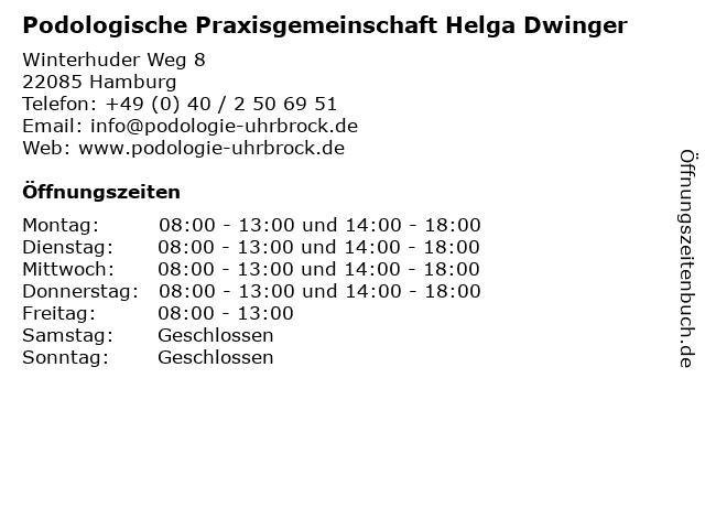 Podologische Praxisgemeinschaft Helga Dwinger in Hamburg: Adresse und Öffnungszeiten
