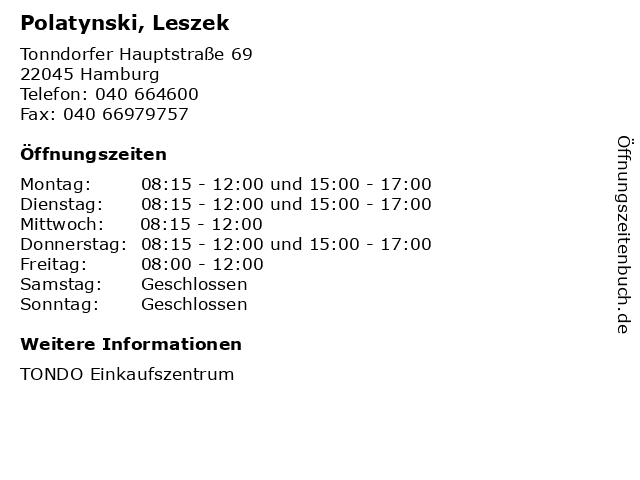 Polatynski, Leszek in Hamburg: Adresse und Öffnungszeiten
