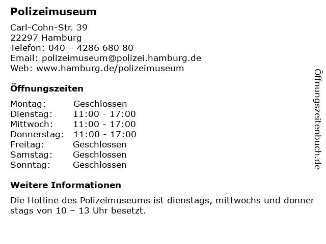 Polizeimuseum in Hamburg: Adresse und Öffnungszeiten