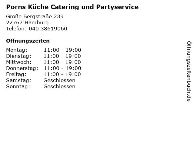 Porns Küche Catering und Partyservice in Hamburg: Adresse und Öffnungszeiten