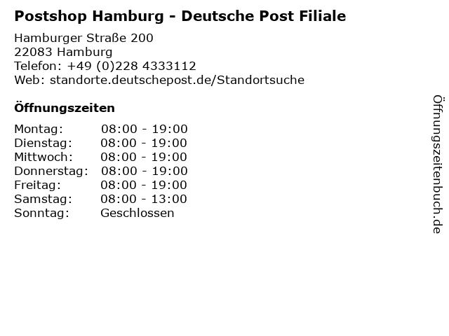 Postshop Hamburg - Deutsche Post Filiale in Hamburg: Adresse und Öffnungszeiten