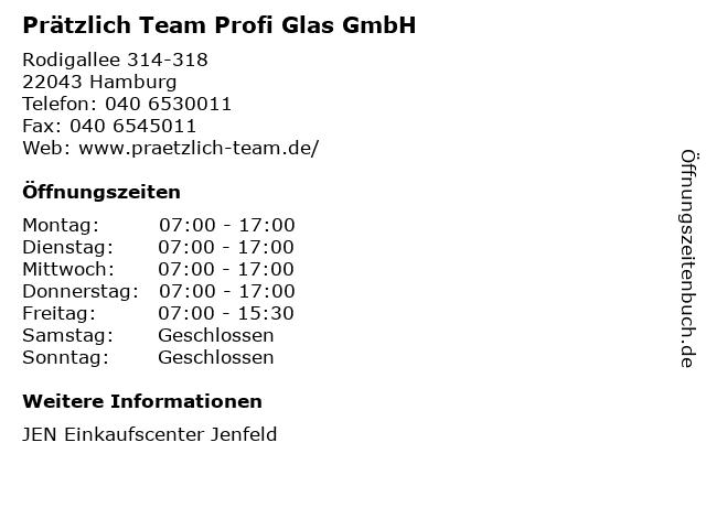Prätzlich Team Profi Glas GmbH in Hamburg: Adresse und Öffnungszeiten