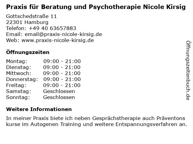 Praxis für Beratung und Psychotherapie Nicole Kirsig in Hamburg: Adresse und Öffnungszeiten