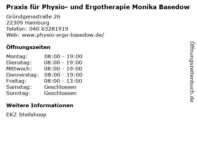 Praxis für Physio- und Ergotherapie Monika Basedow in Hamburg: Adresse und Öffnungszeiten