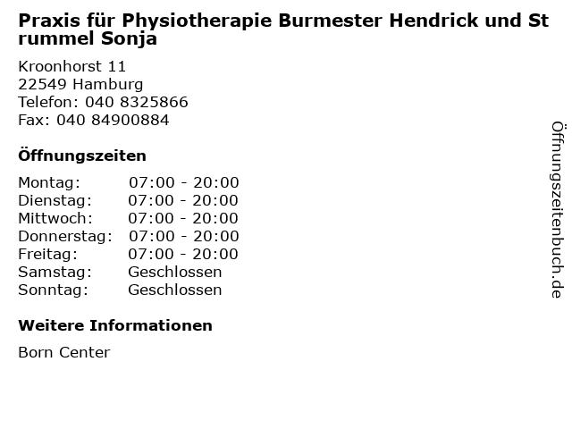 Praxis für Physiotherapie Burmester Hendrick und Strummel Sonja in Hamburg: Adresse und Öffnungszeiten