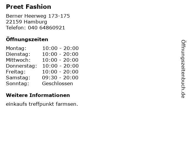 Preet Fashion in Hamburg: Adresse und Öffnungszeiten