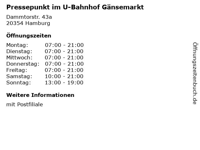 Presse Tabak Shop in Hamburg: Adresse und Öffnungszeiten