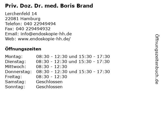 Priv. Doz. Dr. med. Boris Brand in Hamburg: Adresse und Öffnungszeiten