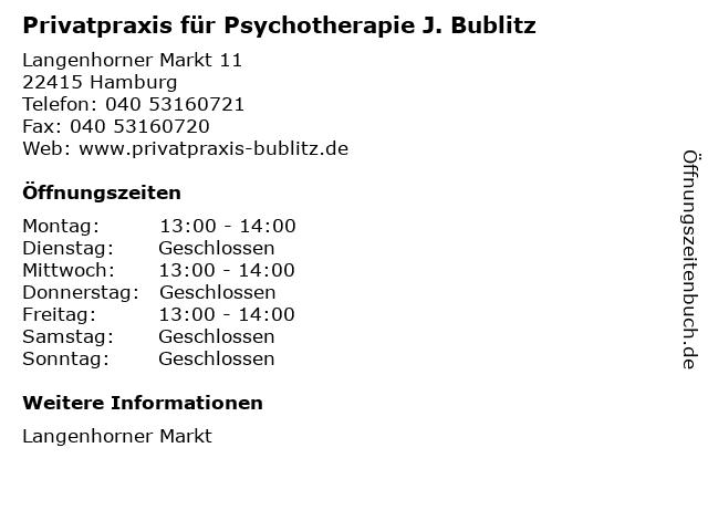 Privatpraxis für Psychotherapie J. Bublitz in Hamburg: Adresse und Öffnungszeiten