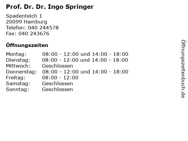 Prof. Dr. Dr. Ingo Springer in Hamburg: Adresse und Öffnungszeiten