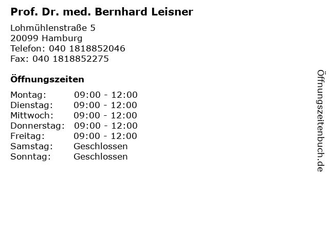 Prof. Dr. med. Bernhard Leisner in Hamburg: Adresse und Öffnungszeiten