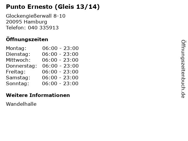 Punto Ernesto (Gleis 13/14) in Hamburg: Adresse und Öffnungszeiten