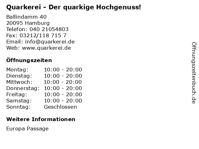 Quarkerei - Der quarkige Hochgenuss! in Hamburg: Adresse und Öffnungszeiten