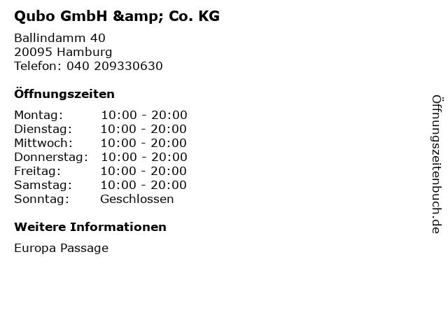Qubo GmbH & Co. KG in Hamburg: Adresse und Öffnungszeiten