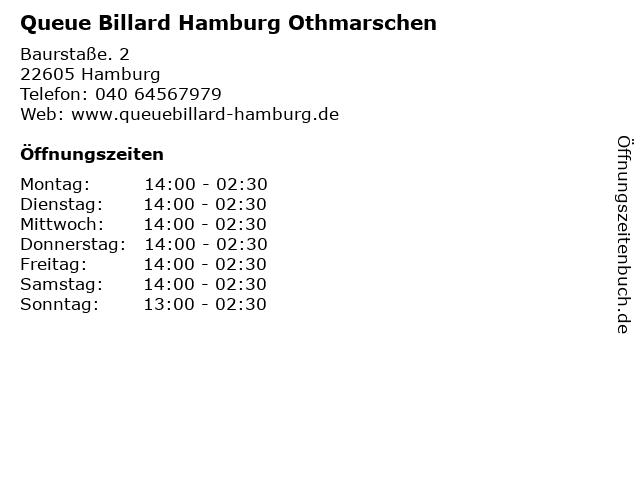 Queue Billard Hamburg Othmarschen in Hamburg: Adresse und Öffnungszeiten