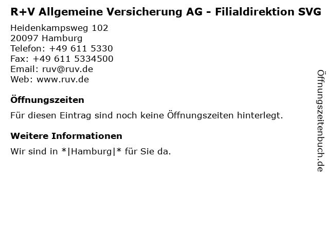 R+V Allgemeine Versicherung AG - Filialdirektion SVG in Hamburg: Adresse und Öffnungszeiten
