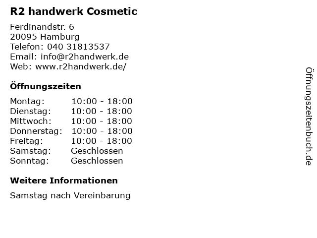 R2 handwerk Cosmetic in Hamburg: Adresse und Öffnungszeiten