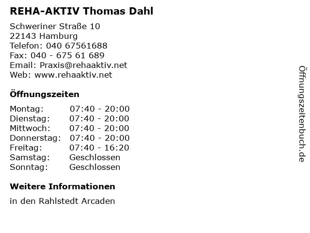 REHA-AKTIV Thomas Dahl in Hamburg: Adresse und Öffnungszeiten