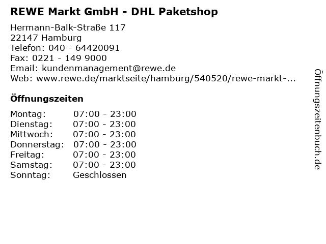REWE Markt GmbH - DHL Paketshop in Hamburg: Adresse und Öffnungszeiten