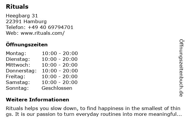 RITUALS home & body cosmetics in Hamburg: Adresse und Öffnungszeiten