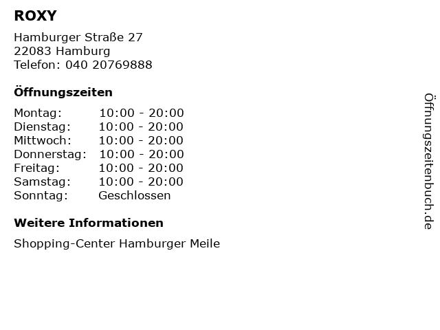 ROXY in Hamburg: Adresse und Öffnungszeiten