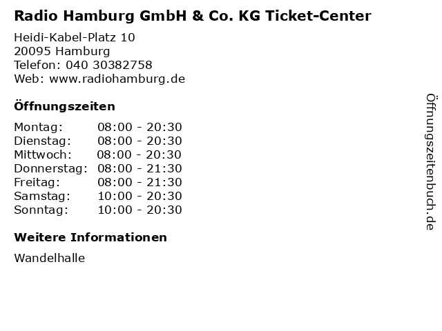 Radio Hamburg GmbH & Co. KG Ticket-Center in Hamburg: Adresse und Öffnungszeiten