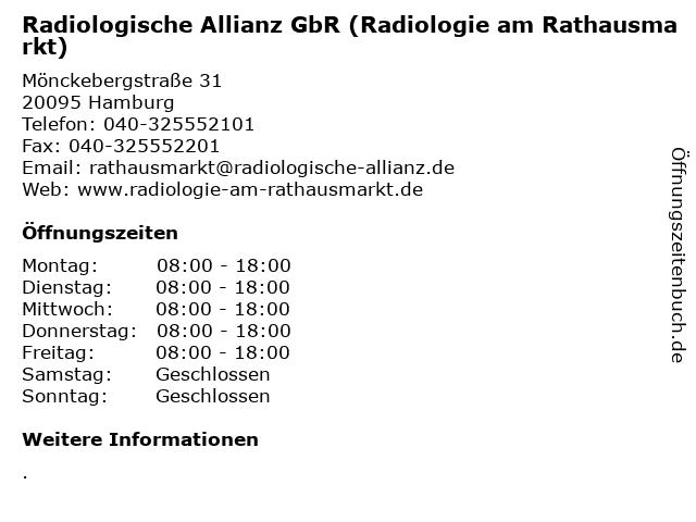 Radiologische Allianz GbR (Radiologie am Rathausmarkt) in Hamburg: Adresse und Öffnungszeiten