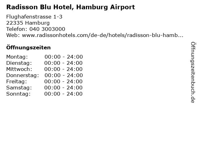 Radisson Blu Hotel - Flughafen Hamburg in Hamburg: Adresse und Öffnungszeiten