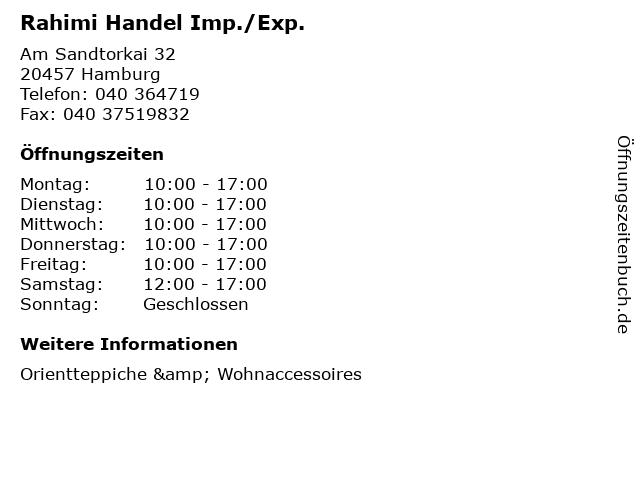 Rahimi Handel Imp./Exp. in Hamburg: Adresse und Öffnungszeiten
