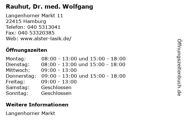 Rauhut, Dr. med. Wolfgang in Hamburg: Adresse und Öffnungszeiten