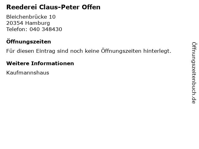 Reederei Claus-Peter Offen in Hamburg: Adresse und Öffnungszeiten