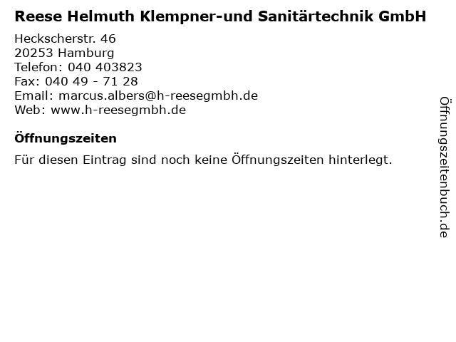 Reese Helmuth Klempner-und Sanitärtechnik GmbH in Hamburg: Adresse und Öffnungszeiten