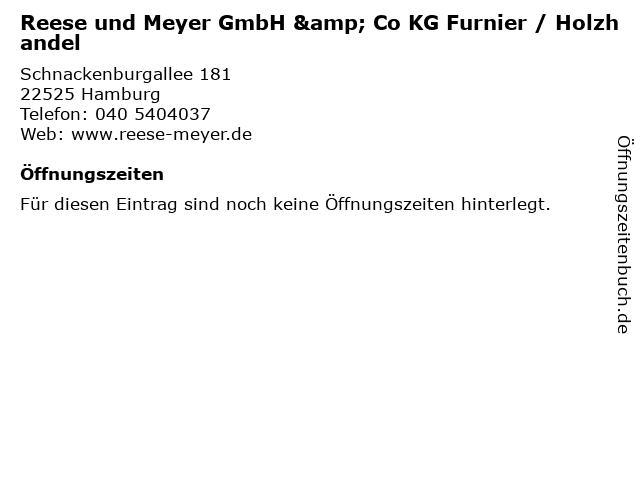 Reese und Meyer GmbH & Co KG Furnier / Holzhandel in Hamburg: Adresse und Öffnungszeiten
