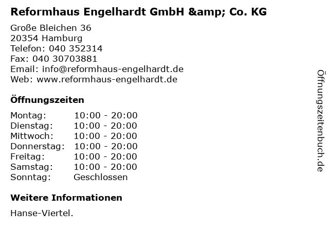 Reformhaus Engelhardt GmbH & Co. KG in Hamburg: Adresse und Öffnungszeiten