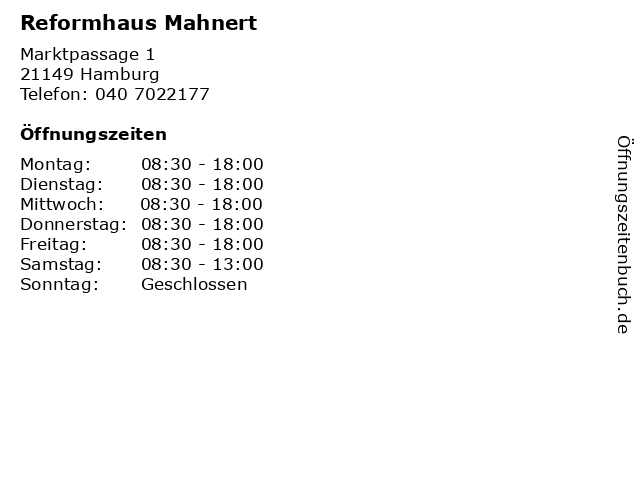 Reformhaus Mahnert in Hamburg: Adresse und Öffnungszeiten