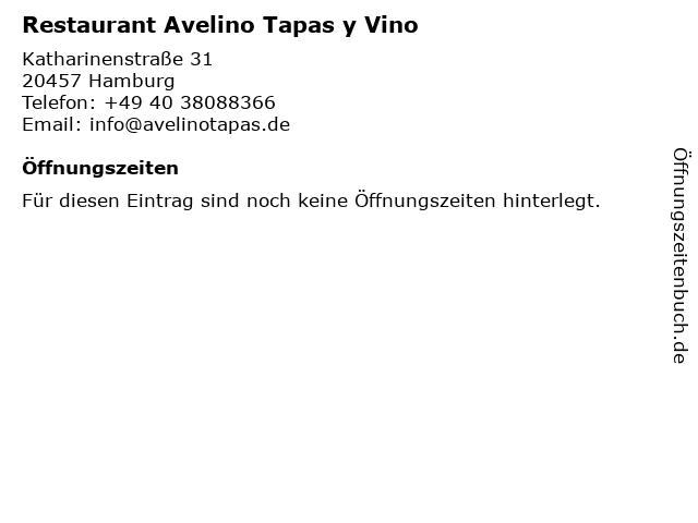 Restaurant Avelino Tapas y Vino in Hamburg: Adresse und Öffnungszeiten