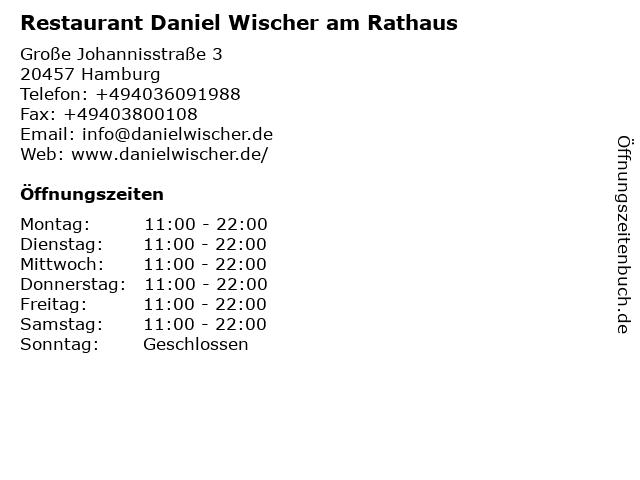 Restaurant Daniel Wischer am Rathaus in Hamburg: Adresse und Öffnungszeiten