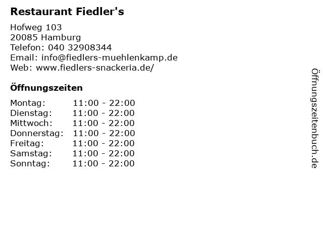 Restaurant Fiedler's in Hamburg: Adresse und Öffnungszeiten