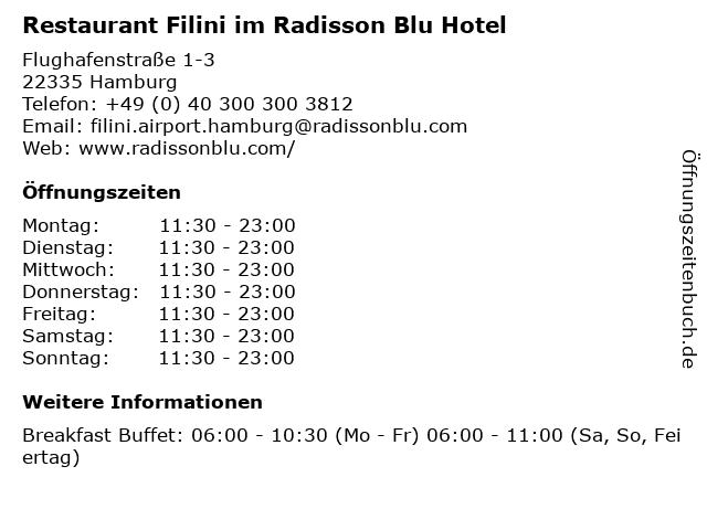 Restaurant Filini im Radisson Blu Hotel in Hamburg: Adresse und Öffnungszeiten