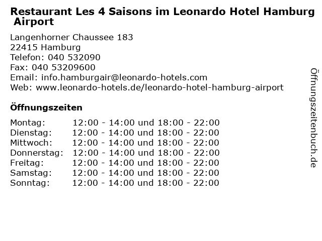 Restaurant Les 4 Saisons im Leonardo Hotel Hamburg Airport in Hamburg: Adresse und Öffnungszeiten