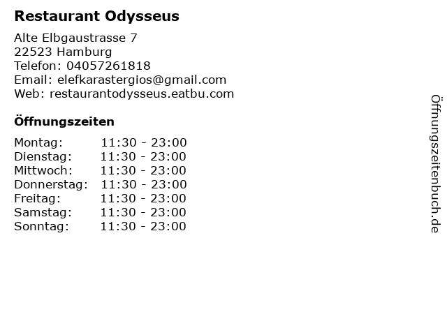 Restaurant Odysseus in Hamburg: Adresse und Öffnungszeiten